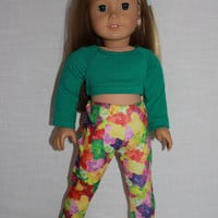 green crop top, gummy bear/ jelly bear  print leggings, 18 inch doll clothes, American girl, Maplelea