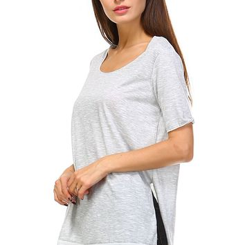 Grey Slub Side-Slit Scoop Neck Tunic - Women