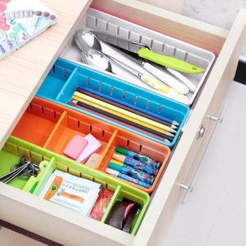 3 Colors Creative Design Adjustable Drawer Organizer Home Kitchen Board Free Divider Makeup Tableware Storage Box