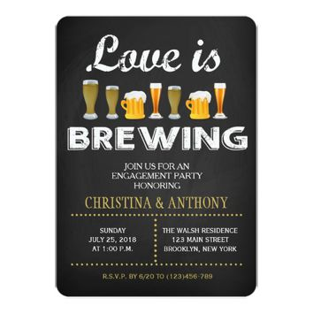 Love is Brewing Engagement Party Chalk Invitation