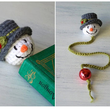 Handmade Bookmark Snowman - Christmas Gift for Kids - Christmas Book Mark - Holiday Gift for Teachers - Christmas Book Charm - Book Lover