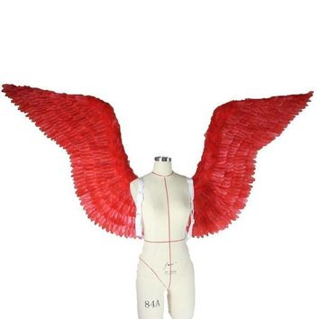 Sexy Red Feather Angel Wings Cosplay Costume