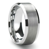 Tungsten Carbide Unisex Wedding Band 8MM (5/16 inch) Flat Step Brushed Finish Comfort Fit (Size 8 to 12)