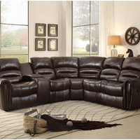 Home Elegance HE-8411-LCNR 3 pc palmyra iii collection dark brown bonded leather match upholstered sectional sofa console recliners