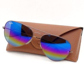 Kalete Ray Ban Aviator 3025 9019/C2 58 Dark Bronze Rainbow Mirror Authentic Sunglasses