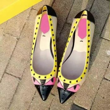 Small Monster Multicolor Pointed Shoe Head Rivet Heels Shoes Rough Heel Single Shoes-3