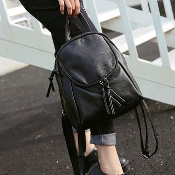 Fashion women wash soft pu leather backpack little fresh ladies college leisure small sack bag daypack black color