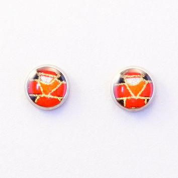 Japanese washi ear stud, red & orange stud earrings, resin, washi Chiyogami jewelry, surgical steel, balance toy, yajirobee, history