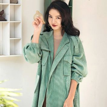VERRAGEE Casual Women Coat Multicolor Spring New Arrival Clothes Blue Green Overcoat Long Trench Coat Plus Size