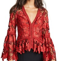 Red Lace Bell Sleeve Blouse Top