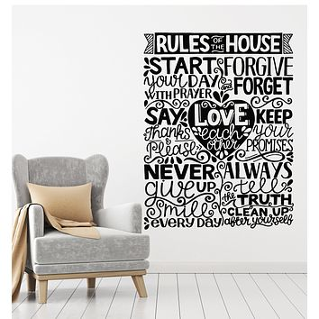 Vinyl Wall Decal House Rules Inspirational Quote Living Room Stickers Mural (g2683)
