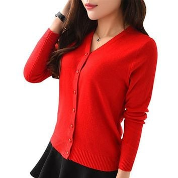 Women Slim Long Sleeve V Neck Coat Cardigan Knitwear Casual Crochet Sweater Slim Sweaters Coat