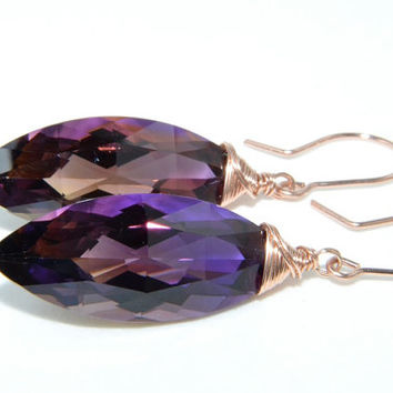 Ametrine Earrings, Amethyst, Citrine, Rose Gold Jewelry, Luxe Jewelry, Handmade
