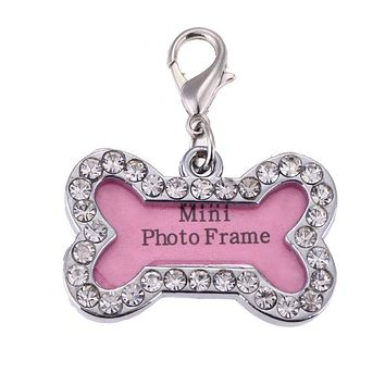 Pet Cat Dog ID Tags Customized Personalized Bone Shaped Alloy Crystal Tag