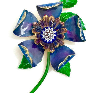Hattie Carnegie Flower Brooch, Original Paper Tag, Deep Blue and Green Enamel, Art Glass Center, 3 Dimensional, Statement Brooch