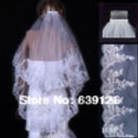 2014 Wedding Accessories Bridal Veil Two Layers White Ivory Comb Bridal Accesories Paillette Edge Wedding Veil Ivory Short Veil - Default