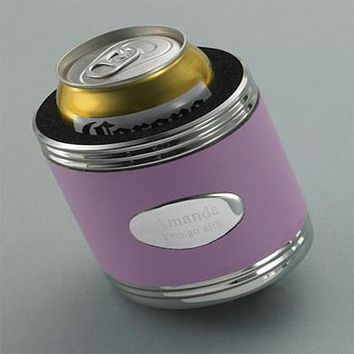 Personalized Pink Leather Koozie Free Engraving