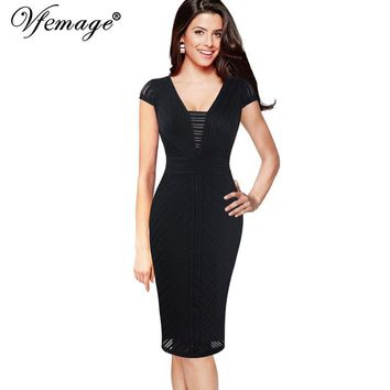 Vfemage Womens Sexy V Neck Cap Sleeves Patchwork Slim Casual Cocktail Party Club Fitted Stretch Bodycon Pencil Sheath Dress 496