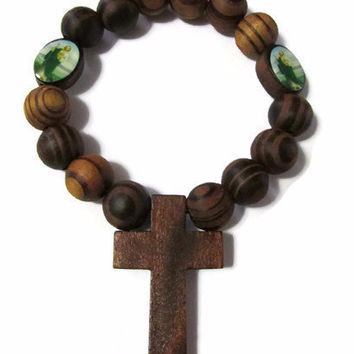 Wood Rosary with cross elastic bracelet for travel protection