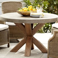 Abbott Faux-Concrete Top Round Fixed Dining Table