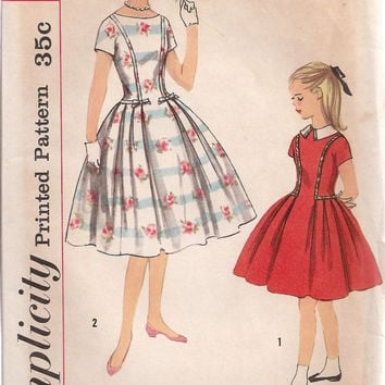 Simplicity 2479 Sewing Pattern 50s Rockabilly Style Teen Girls Swing Garden Tea Dress Full Circle Skirt Fitted Bodice Uncut FF Bust 30