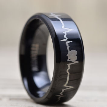8MM Titanium Comfort Fit Wedding Band Ring Forever Love Heartbeat Black Ring | FREE ENGRAVING | KIM HUDSON