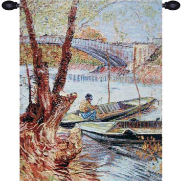Van Gogh Fishing in the Spring Tapestry Wall Art Hanging