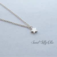 Tiny Star Necklace, Silver Tiny Star Charm Choker Short Necklace, Star Jewelry
