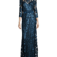 Long-Sleeve Sequined Lace Gown, Starry Night, Size: