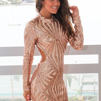 Rose Gold Sequin Long Sleeve Short Dress with Open Back