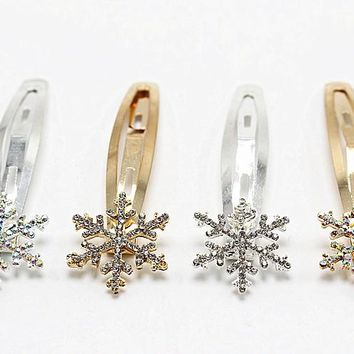 1pc Fashion Snowflake Gold Silver Flower Hairpin Vintage BB Hair Pin Women Hair Clip Jewelry Elegant  Accessories 1586-1