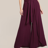 High Rise O Ring Pants BURGUNDY -SheIn(Sheinside)