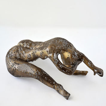 Metal Sculpture - Nude woman - modern art - metal art - Wire mesh sculpture - home decor