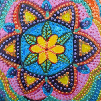 Original Art -Colorful Mandala - Seed of Life - Sacred Geometry - Hexagon - Acrylic