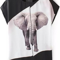 White and Black Color Block Elephant Printed T-Shirt