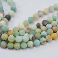 amazonite - matte round amazonite beads - multi color gemstones - multi colored beads - loose gemstone - round bead - size 8mm - 15 inch