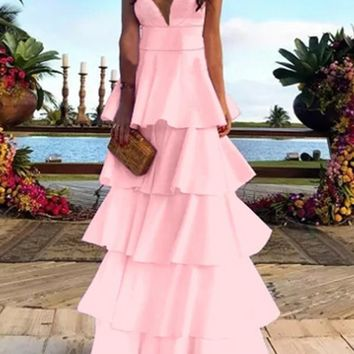New Pink Cascading Ruffle Spaghetti Strap Backless V-neck Cupcake Prom Evening Party Maxi Dress
