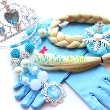 Elsa Halloween Costume- Disney Frozen Inspired Elsa Hair, Necklace / Crown and Gloves - Elsa Wig- Queen Elsa Frozen Necklace -Frozen Crown