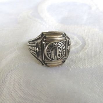 Vintage Class Ring, Setauket Junior High School Ring, Art Deco Sterling Silver School Ring 1963, Vintage School Jewelry