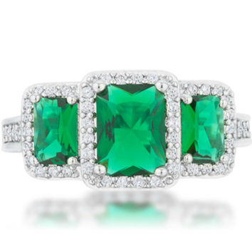 Rita Three Stone Emerald Radiant Cut Cocktail Ring | 5 Carat | Cubic Zirconia