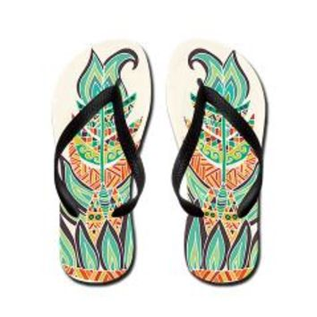 Tribal Feathers Flip Flops> Pom Graphic Design