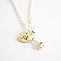Bone Initial Necklace, Dog Bone Necklace, Dog Remembrance Necklace, Dog Memorial Necklace, Pet Necklace, Pet Jewelry, personalized initial