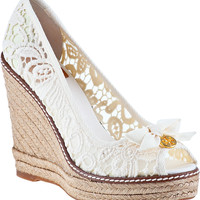 Tory Burch Jackie Wedge Espadrille White Fabric