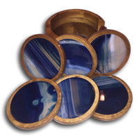 Vintage Blue Agate & Wood Coaster Set | Collection of Six