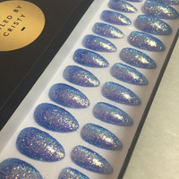 Blue Glitter Almond Press On Nails | False Nails | Fake Nails | Glue On Nails | Glitter Nail Art | At Home Manicure