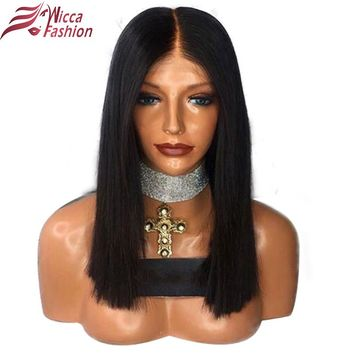 dream beauty Full Lace Human Hair Wigs For Black Women Pre Plucked Natural Hairline Brazilian Non Remy Short Bob Straight Wig