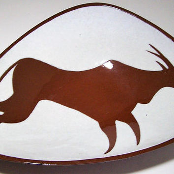 Van Gaasbeek Art Pottery Bowl, Primative Running Antelope, Red Ware Ceramics, South African Art, Prehistoric Cave Painting 218