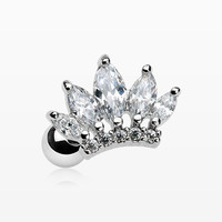 Princess Crown Sparkle Cartilage Tragus Barbell