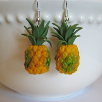 Miniature Pineapple Earrings - Mini Food Jewelry - Polymer Clay