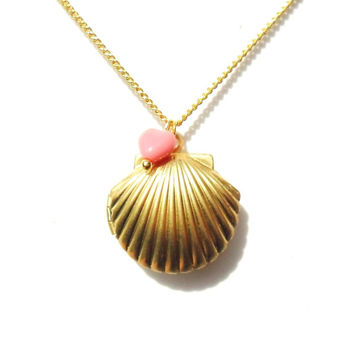 Golden Mermaid Locket with Little Pink Heart, Sea Shell Necklace, Beach Locket, Gold Tone Raw Brass, Nautical Jewelry, Gift Wrap
